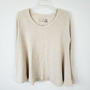 Free People | Cream Waffle Knit Top